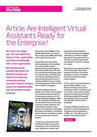 Article: Are Intelligent Virtual Assistants Ready for the Enterprise?