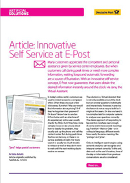 Article: Innovative Self Service at E-Post