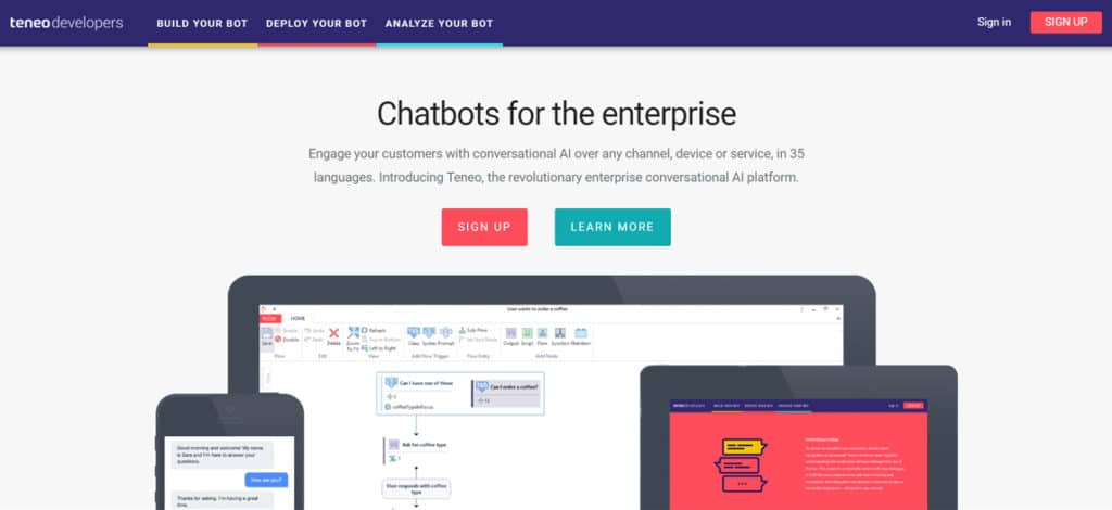 start building free chatbots with teneo